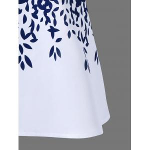 Sleeveless Leaf Pattern Graduation Party Dress - BLUE AND WHITE 2XL
