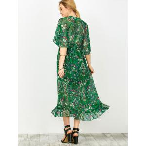 Maxi Floral Printed Empire Waist Dress With Tube Top - GREEN XL