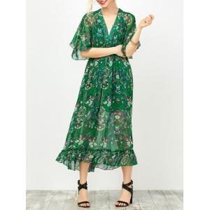 Maxi Floral Printed Empire Waist Dress With Tube Top - Green - S
