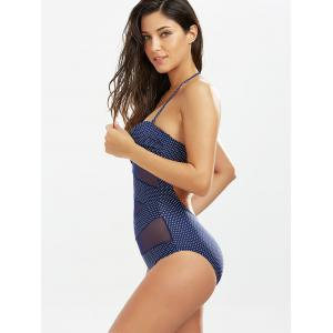 Polka Dot Sheer One Piece Bathing Suit - DEEP BLUE M