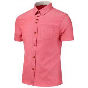 Chest Pocket Short Sleeve Shirt - Watermelon Red - L
