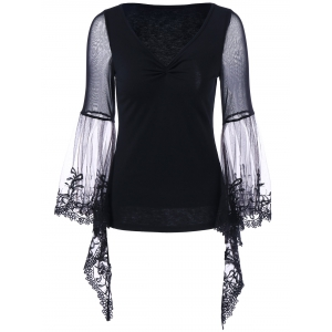 Plus Size Flare Sleeve Lace Trim Blouse - Black - 5xl