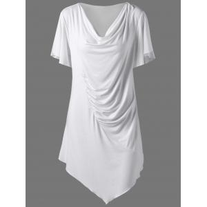 Cowl Neck Ruched Asymmetric Plus Size Long T-Shirt