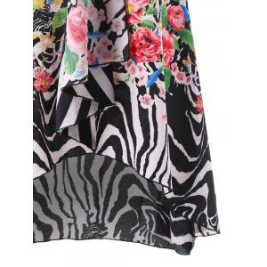 Striped and Floral High Low Hem Dress -