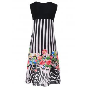 Striped and Floral High Low Hem Dress - WHITE/BLACK L