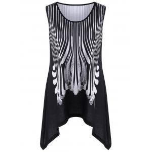 Asymmetric Extra Long Flowy Plus Size Tank Top - White And Black - 5xl