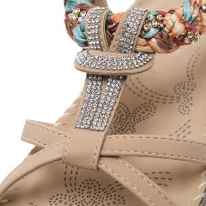 T Bar Rhinestones Sandals - APRICOT 37