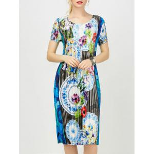 Floral Print Midi Pleated Dress