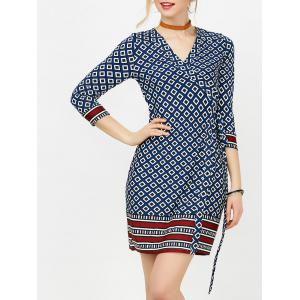 Mini Geometric Print Formal Wrap Dress