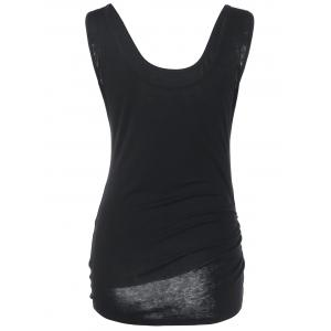 Shirred Tie Side Tank Top - BLACK M