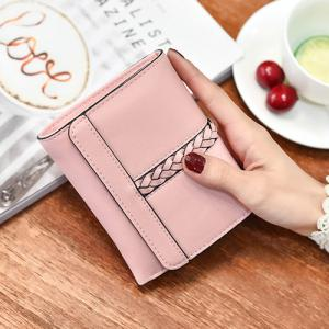 Braided Trifold Small Mini Wallet - PINK