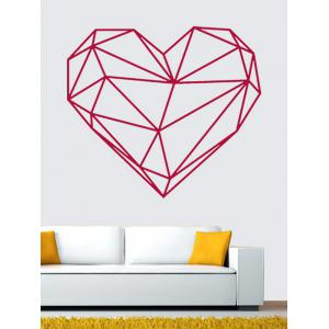 Geometric Heart Shape Waterproof Design Wall Stickers For Bedrooms - Rose Red - 49*57cm