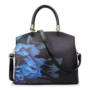 Metal Detail Flower Printed Handbag - Black