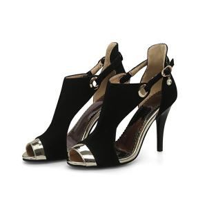 Peep Toe Stiletto Heel Sandals - BLACK 38