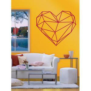 Geometric Heart Shape Waterproof Design Wall Stickers For Bedrooms - ROSE RED 49*57CM