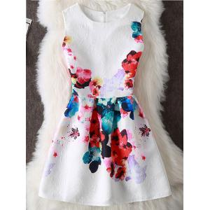 Colorful Floral Print Sleeveless Mini Dress