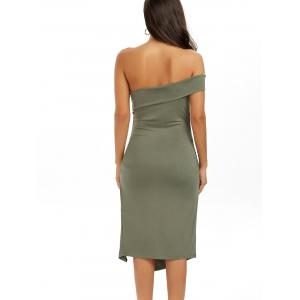 Ruched One Shoulder Low Cut Bodycon Bandage Dress - GREEN L