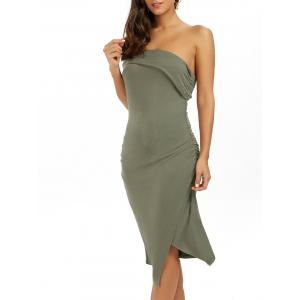 Ruched One Shoulder Low Cut Bodycon Bandage Dress