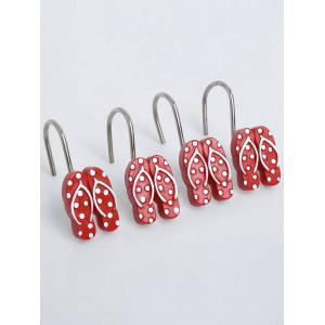 12 Pcs Beach Polka Dot Flip Flops Shaped Shower Curtain Hooks -