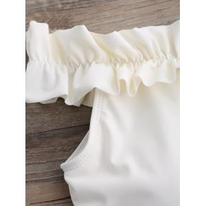 Off The Shoulder Ruffle Bikini - CRYSTAL CREAM M
