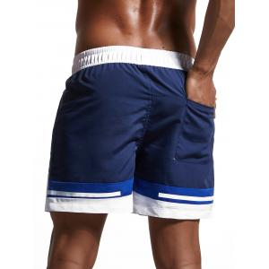 Color Block Panel Zipper Pockets Swimming Shorts - CERULEAN 2XL
