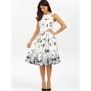 Belted Sleeveless Floral Printed Dress - WHITE M