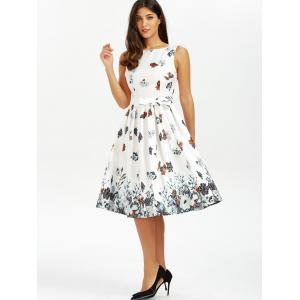 Belted Sleeveless Floral Printed Dress -
