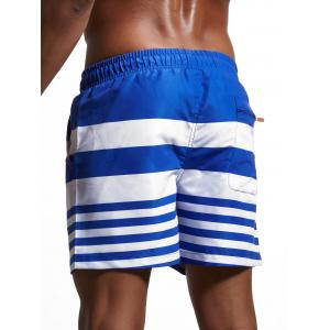 Stripes Panel Lace Up Swimming Shorts - BLUE XL