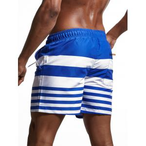 Stripes Panel Lace Up Swimming Shorts -