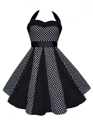 Latest Vintage Halter Polka Dot Swing Dress BLACK 2XL
