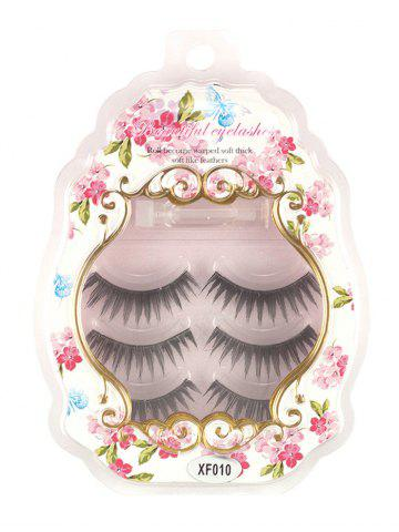 Hot 3 Pairs False Eyelashes with Glue BLACK