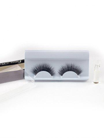 Chic Lengthening False Eyelashes with Glue - BLACK  Mobile