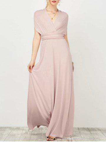 Convertible Open Back Surplice Maxi Prom Wedding Formal Dress - Pale Pinkish Grey - One Size