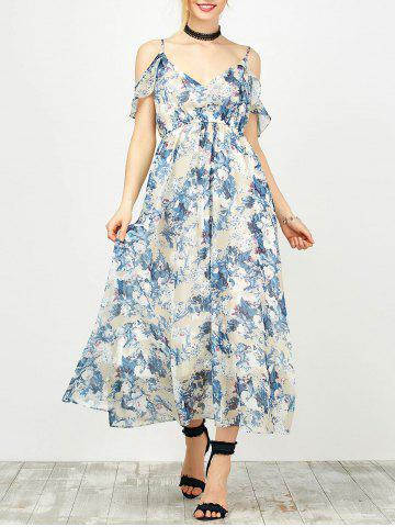 Maxi Cold Shoulder Floral Ruffle Cami Dress - Colormix - Xl