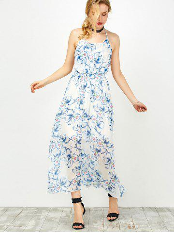 Cheap Halter Backless Floral Chiffon Prom Dress - S BLUE Mobile