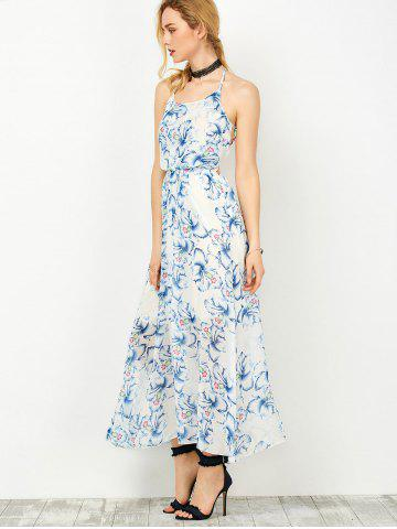 Trendy Halter Backless Floral Chiffon Prom Dress - S BLUE Mobile