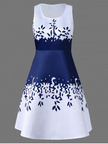 Best Sleeveless Leaf Pattern Graduation Party Dress BLUE AND WHITE 2XL