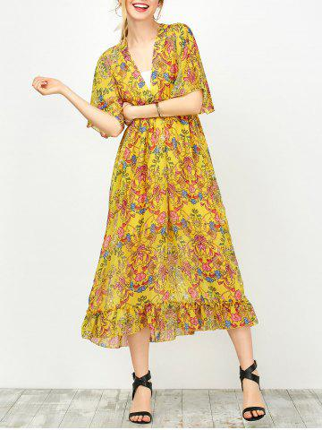 Maxi Floral Printed Empire Waist Dress With Tube Top - Yellow - S
