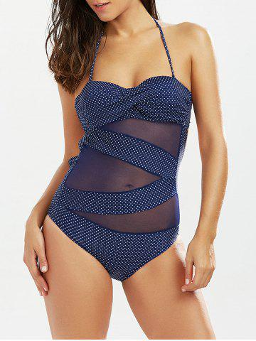 New Polka Dot Sheer One Piece Bathing Suit DEEP BLUE M