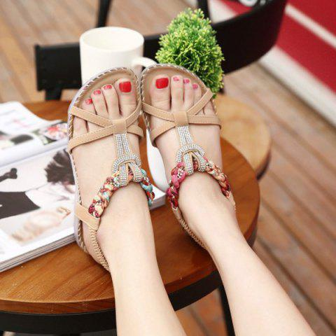 Online T Bar Rhinestones Sandals - 37 APRICOT Mobile