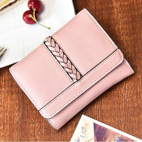 Fancy Braided Trifold Small Mini Wallet - PINK  Mobile