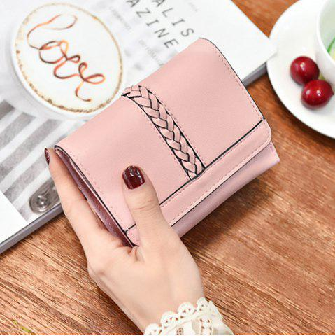Discount Braided Trifold Small Mini Wallet - PINK  Mobile