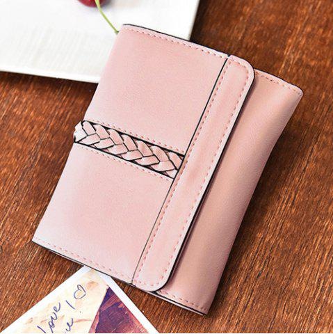 Fashion Braided Trifold Small Mini Wallet - PINK  Mobile