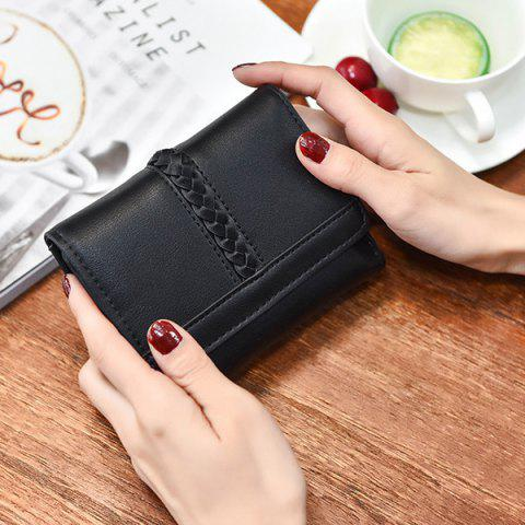 Fancy Braided Trifold Small Mini Wallet - BLACK  Mobile