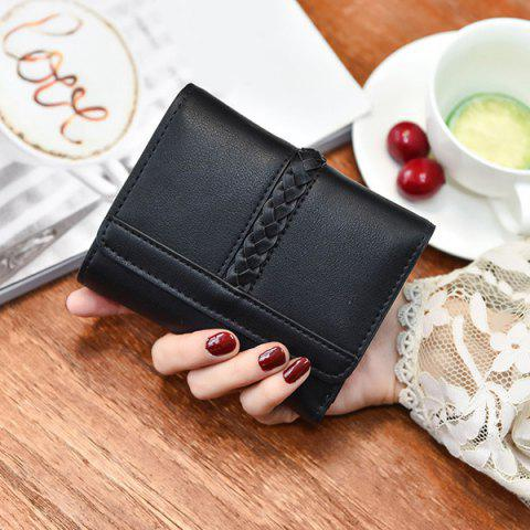 Online Braided Trifold Small Mini Wallet - BLACK  Mobile