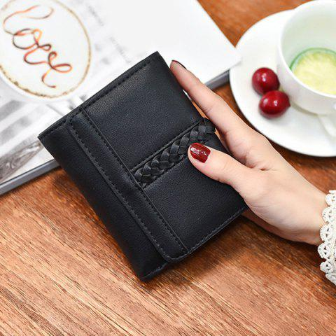 Discount Braided Trifold Small Mini Wallet - BLACK  Mobile