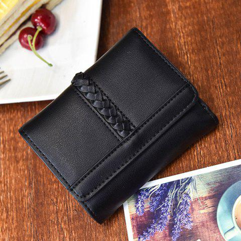 Fashion Braided Trifold Small Mini Wallet - BLACK  Mobile