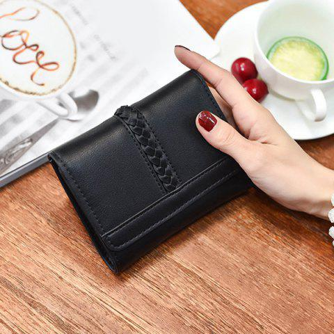 Outfits Braided Trifold Small Mini Wallet - BLACK  Mobile