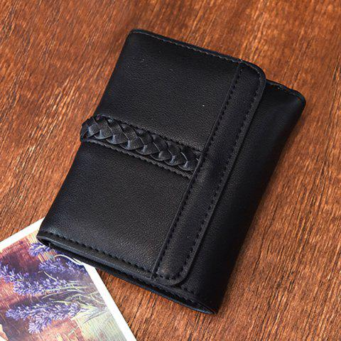 Shops Braided Trifold Small Mini Wallet - BLACK  Mobile