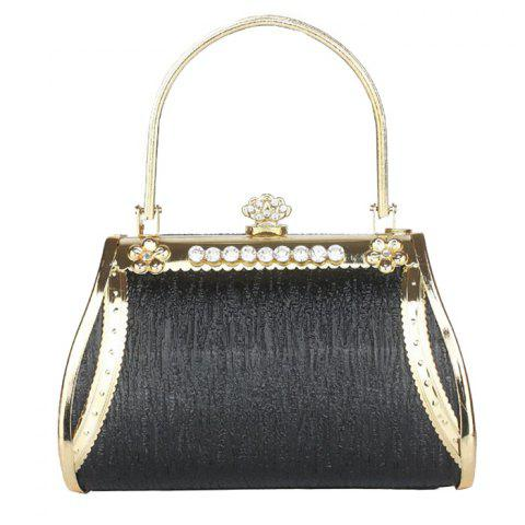 Metal Trim Hollow Out Evening Bag - Black - 130cm